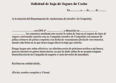 Carta solicitud baja Seguro (automovil, hogar, medico) ~ ¿Espondi