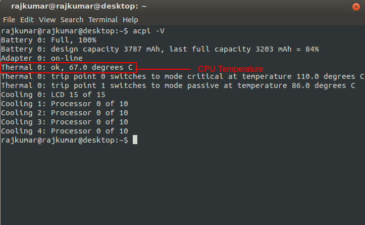Monitor you CPU and HardDisk Temperature from Terminal in Ubuntu