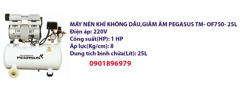 MÁY NÉN KHÍ KHÔNG DẦU,GIẢM ÂM PEGASUS TM- OF750- 25L