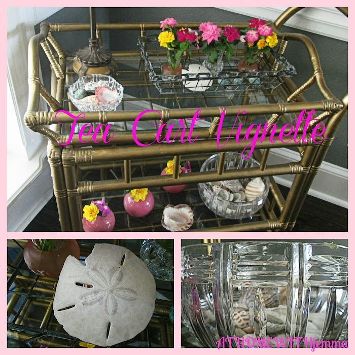 Tea Cart Vignette-Love Pink