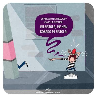 Humor Carolo, Jarúl, Humor gráfico dominicano, yosoyjarul, jarúl ortega, jarul, barriga creativa, humor carolo,, asalto, atracador, robo a mano armada,