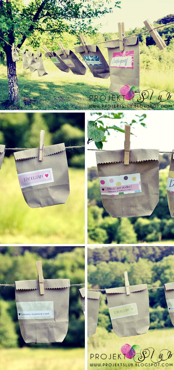 3c9543f3813f5 Eko podziękowanie dla gości na ślub w stylu rustykalnym - torebki na  słodycze