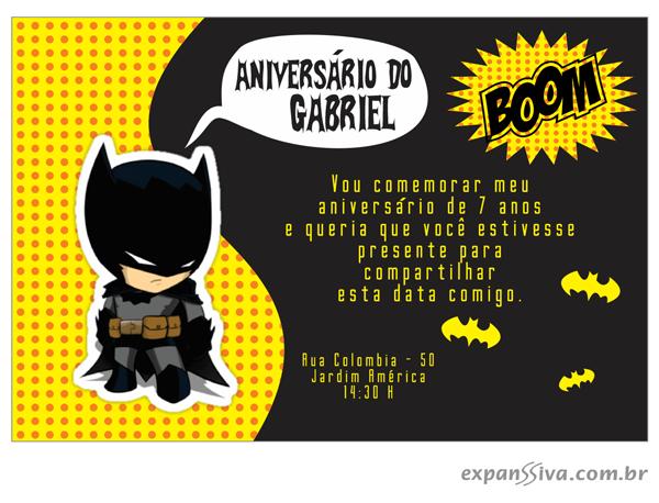 Convite de Aniversario Infantil Batman