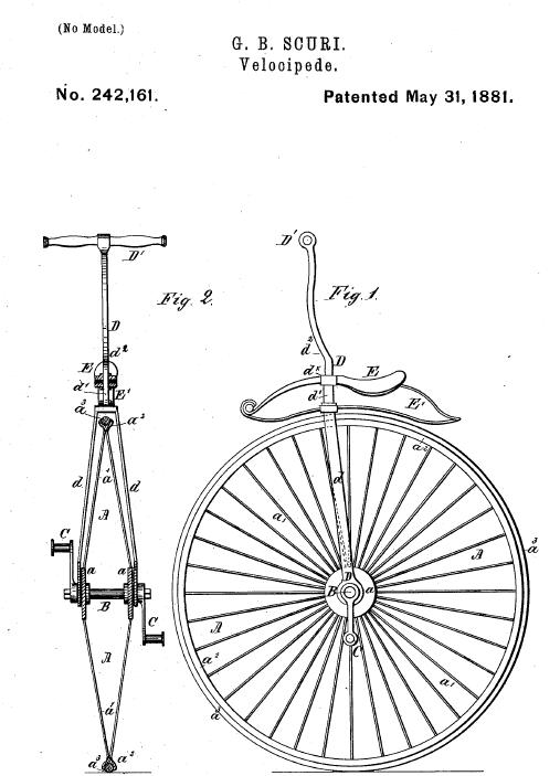 Image result for first unicycle patent