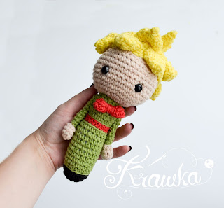 Krawka: Little prince and rose baby rattle crochet pattern by Krawka - perfect and original baby shower gift for a newborn