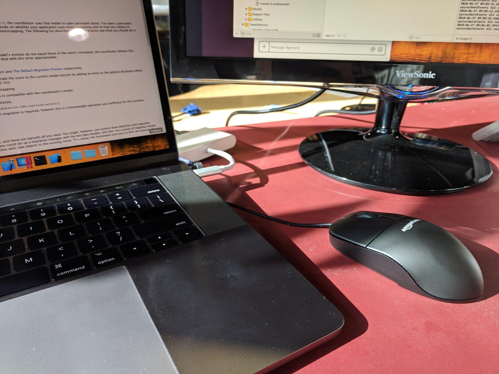 new job work desk mac mouse keyboard monitor screen standing desk