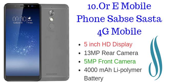 10.Or E Mobile Phone Sabse Sasta 4G Mobile
