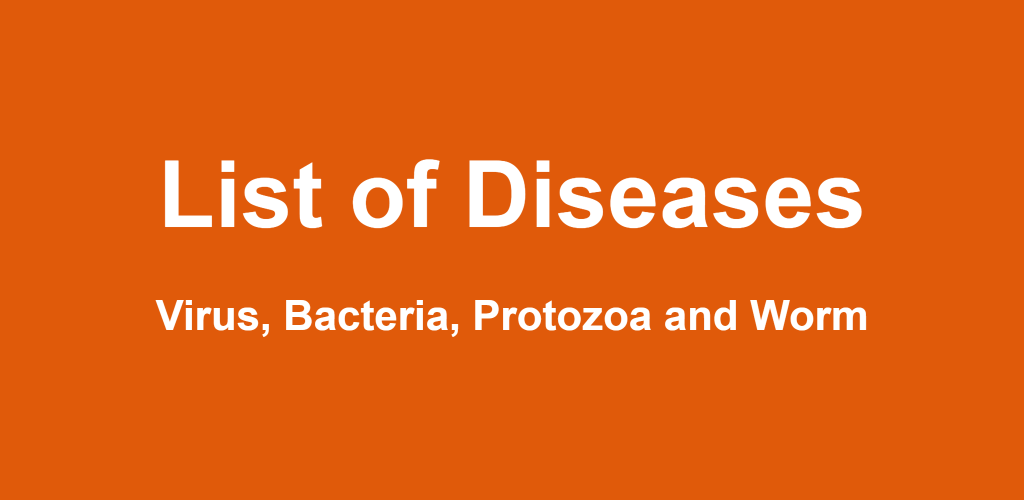 List of Diseases caused by Virus, Bacteria, Protozoa and