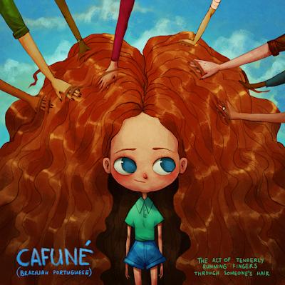 Cafuné (palavra brasileira) mostra uma menina com muito cabelo e várias pessoas passando a mão na sua cabeça.