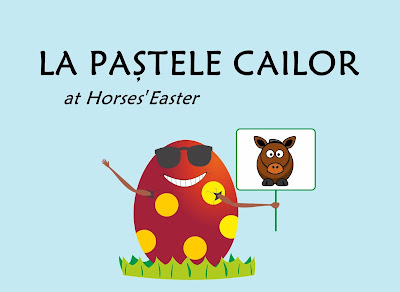 La pastele cailor - at horses' Easter. Egg showing the image of a horse.