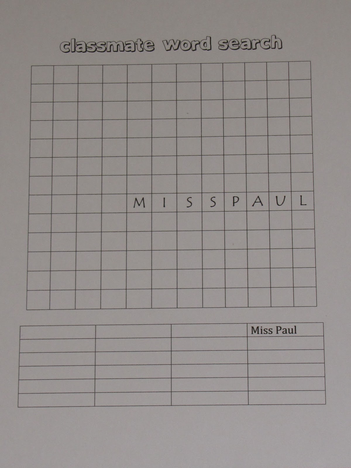 A Love For Teaching Classmate Word Search
