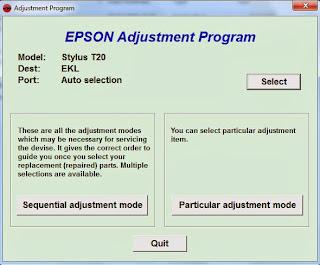 Cara Reset Epson Stylus T20E