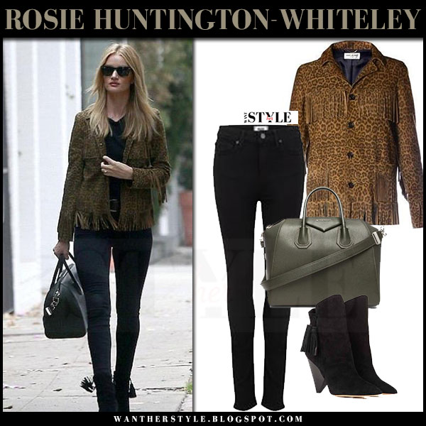 Rosie Huntington-Whiteley in brown leopard print suede saint laurent curtis jacket, black skinny jeans paige denim margot and black ankle boots isabel marant leyton what she wore