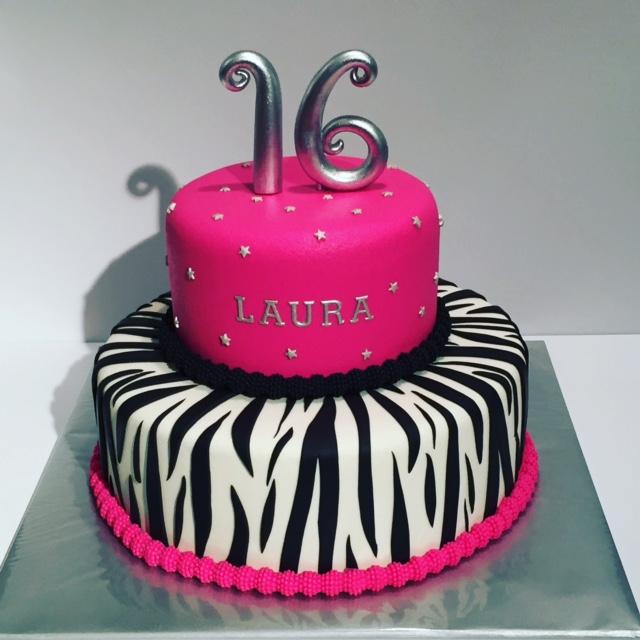 taart zebra Sweet Sixteen taart roze zebra zilver / Sweet Sixteen cake pink  taart zebra