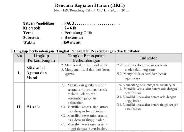 RKH Tema Petualang Cilik Kurikulum 2013 Revisi TK B