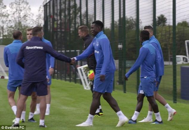 Everton new boys Bernard and Kurt Zouma train with new team-mates for the first time