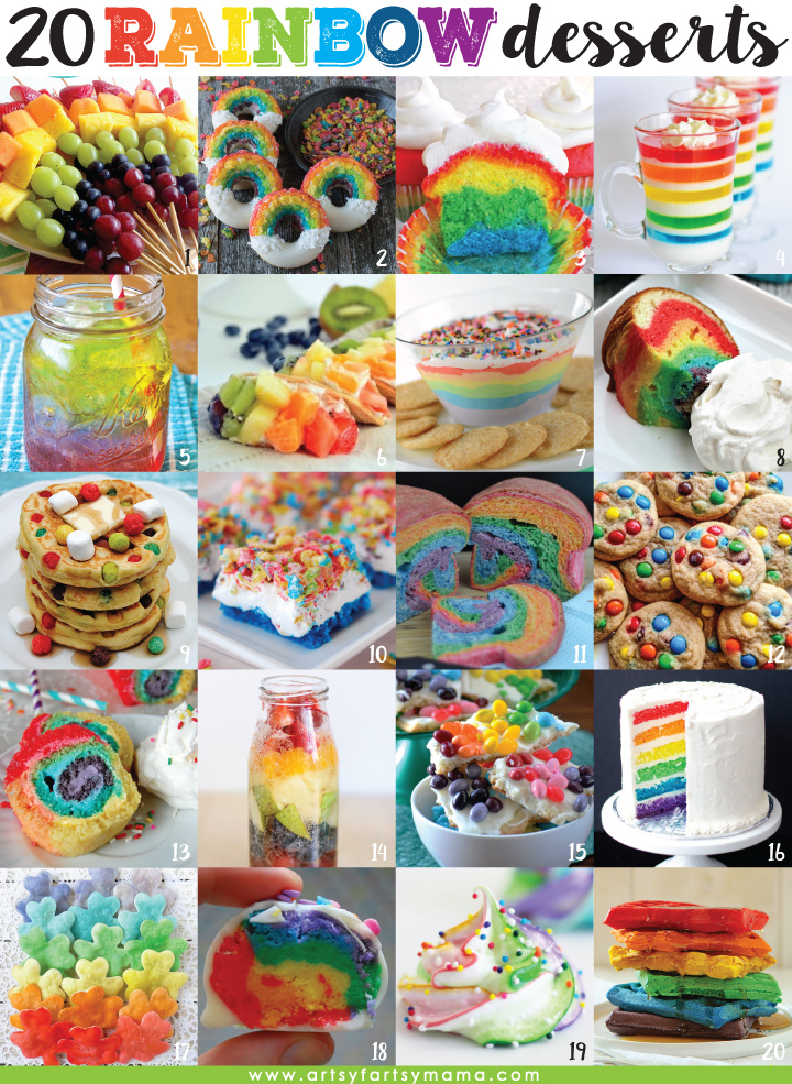 20 Rainbow Dessert Recipes at artsyfartsymama.com