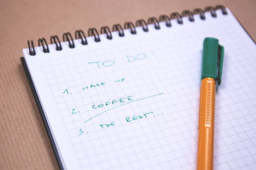 write a list of today's tasks