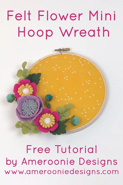 felt flower patterns to create a mini hoop wreath