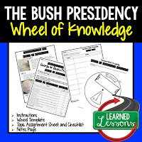 President Bush, Progressive Era, American History Activity, American History Interactive Notebook, American History Wheel of Knowledge