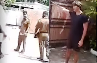 Chillie Thilanka shouting at police officers