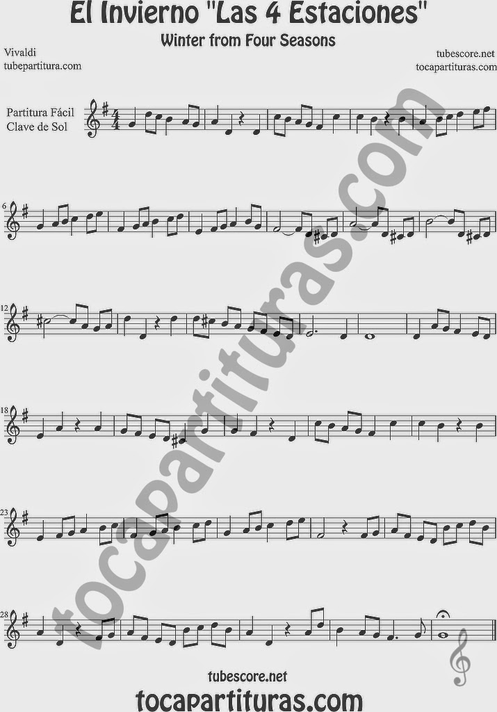 Partitura Fácil en Clave de Sol de El Invierno de las 4 Estaciones. Partitura escrita para tocar sobre todo con Flauta Dulce o de Pico Easy Sheet Music Winter From the Four Seasons