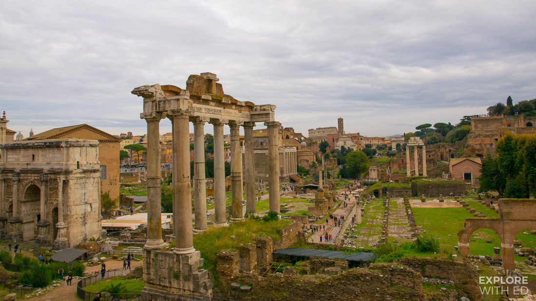 The Roman Forum with The Colosseum in the background