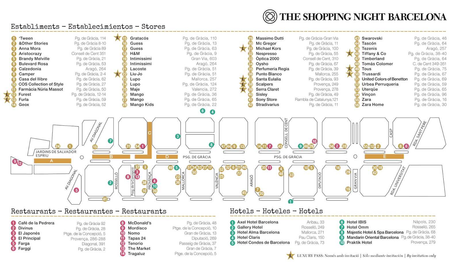 Shopping Night Barcelona 2014 plano, mapa