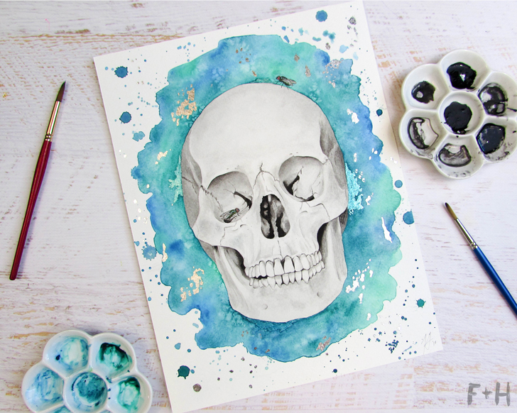 turquoise watercolor human skull painting