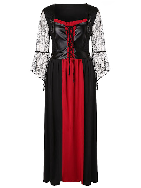 Plus Size Lace Up Maxi Halloween Dress