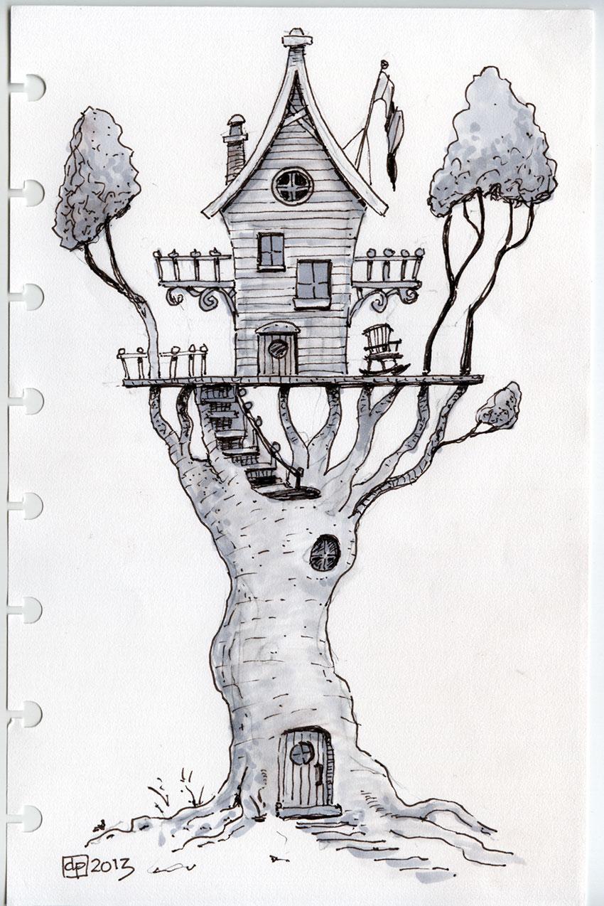 Les Dessins De Daniel Une Maison Dans Un Arbre A House In A Tree