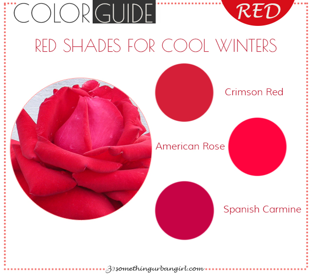 The best red color shades for Cool Winter seasonal color women