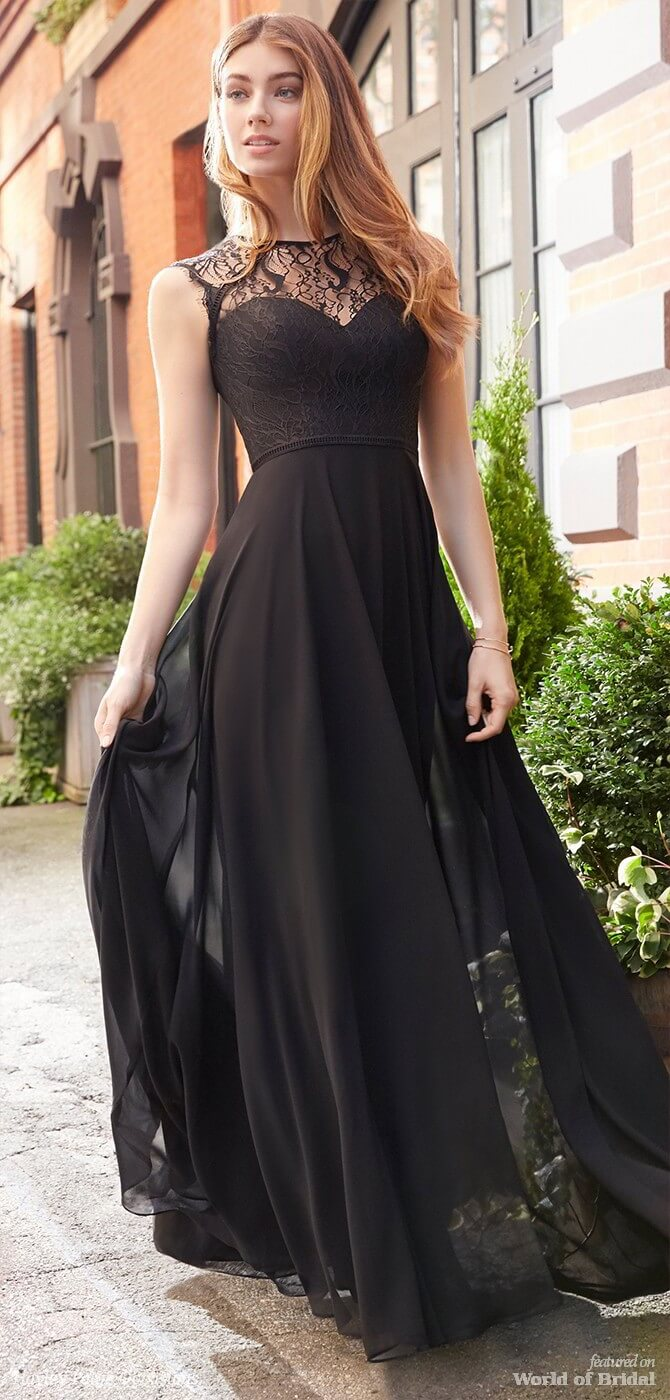 Hayley Paige Occasions Spring 2018 Black chiffon A-line bridesmaid gown