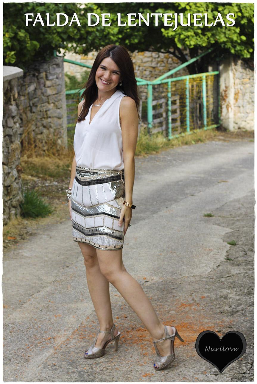 Falda de paillettes excepcional
