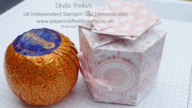 Hexagonal Treat Box, Twist Closure, Chocolate Orange, Linda Parker,