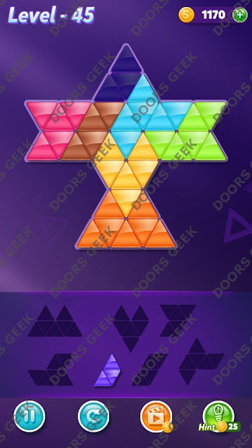 Block! Triangle Puzzle 7 Mania Level 45 Solution, Cheats, Walkthrough for Android, iPhone, iPad and iPod