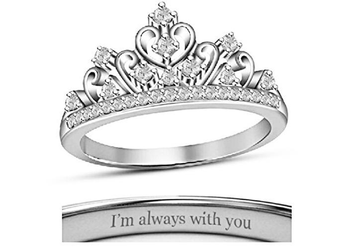 Silver Princess Crown Ring With White Gold Finish For Womens
