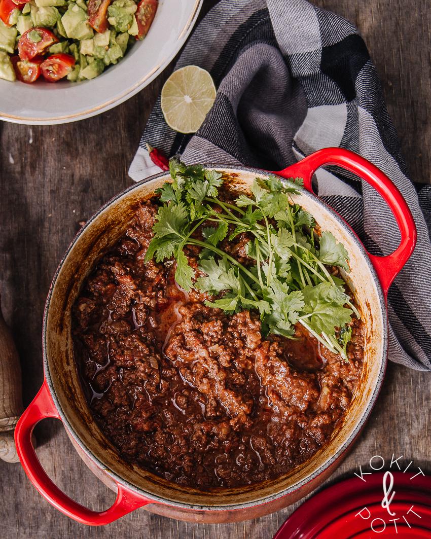 Chili con carne hirvestä