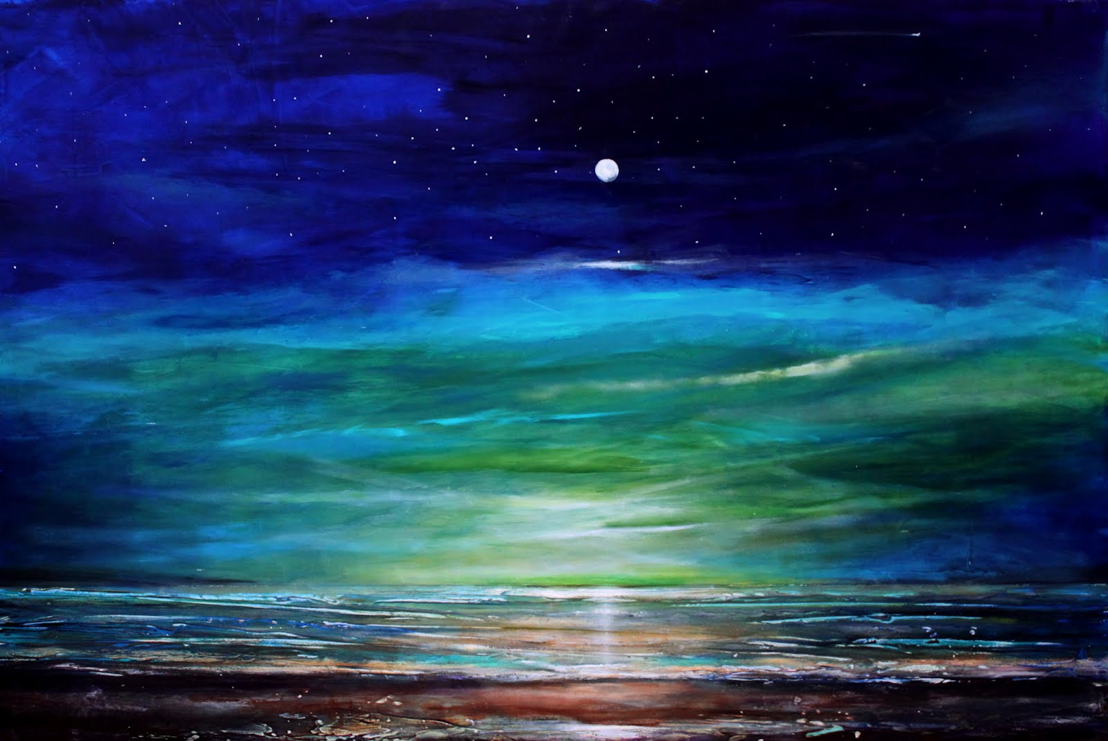 May 2 Large 24x36 Blue Nighttime Beach Texture Seascape Landscape