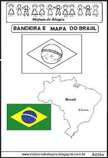 Bandeira e mapa do Brasil
