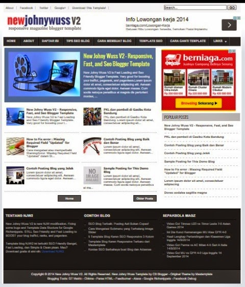 New Johny Wuss V2 -  Template Blog SEO Fast Responsive