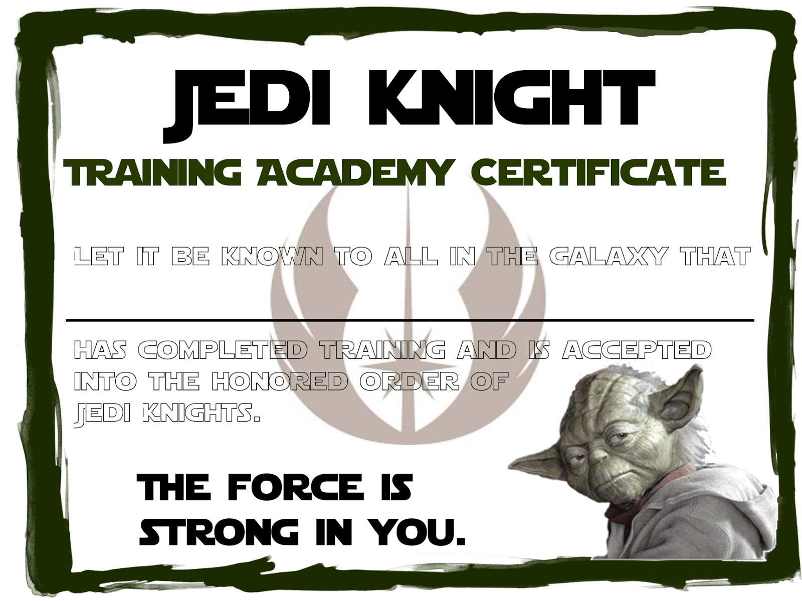 Jedi academy certificate template images certificate design and free training completion certificate template formats for cover jedi training academy certificate template choice image jedi2bcertificate alramifo Images