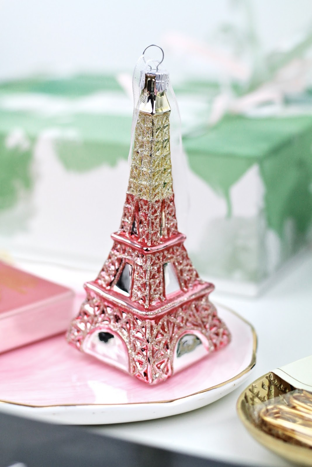 John Lewis pink and gold Eiffel Tower Christmas decoration