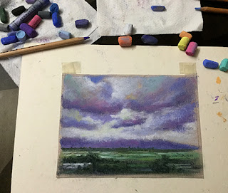 A soft pastel study work of a cloudy landscape from Malshej Ghats in Maharashtra.