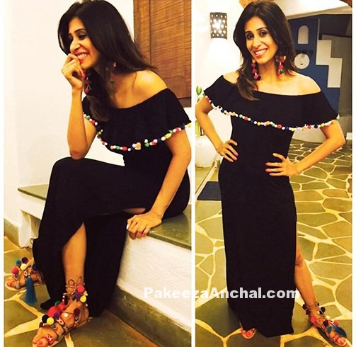 Kishwar Merchant in Black Off Shoulder by Nessa Couture