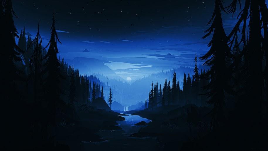 Night, Moon, Forest, Scenery, Digital Art, 8K, #119