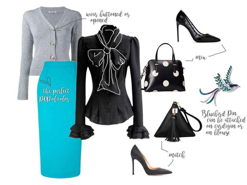 ovarian cancer awareness outfit grey gray sweater cardigan min min black bow tie ruffle cuff blouse polka dots triangle kate spade satchel bags black saint laurent pumps heels with bluebird pave crystal pin anne klein