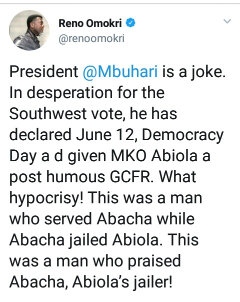 NEW DEMOCRACY DATE :Buhari a Joker for trying to honor MKO Abiola --Reno Omokri