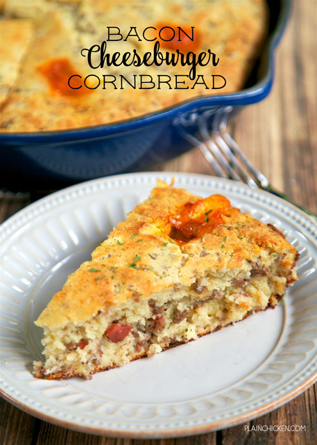 Bacon Cheeseburger Cornbread - comfort food at its best! Homemade Southern buttermilk cornbread loaded with hamburger meat, bacon and cheddar cheese. The chunks of ooey gooey melted cheese are the star of this dish! Serve with a salad for a quick and easy weeknight meal!! Also makes a great dish for a potluck.