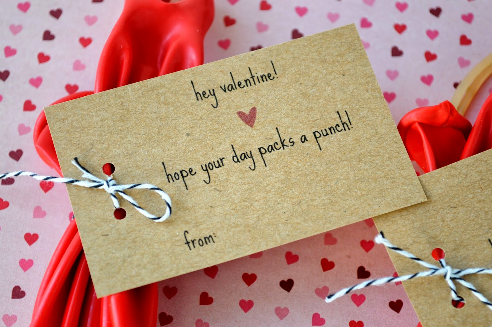 Punch Balloon Valentines {with Free Printable Tags}
